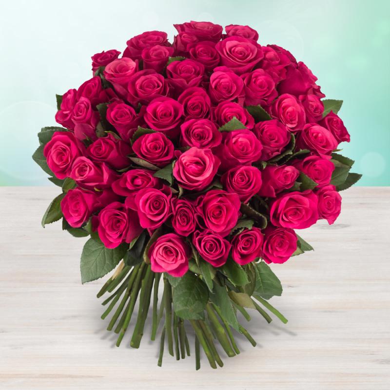 Kytice 48 růžových čerstvých růží