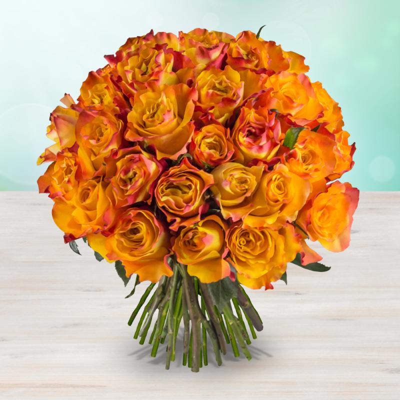 Kytice 205 ohnivých čerstvých růží