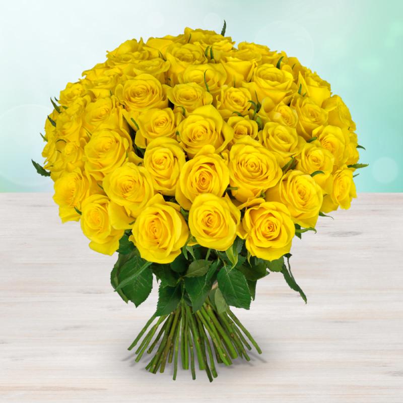 Kytice 98 žlutých čerstvých růží