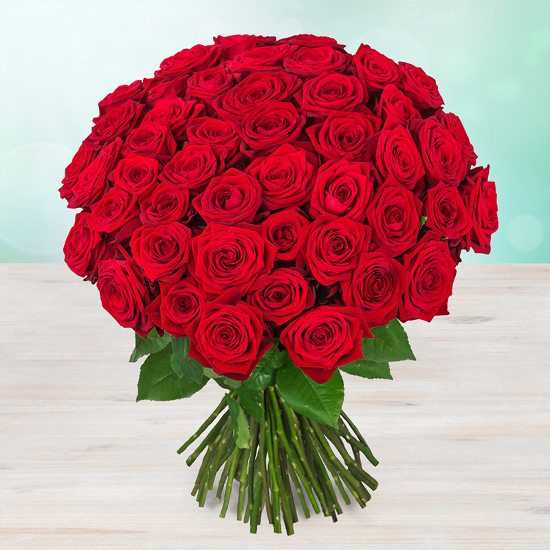 Kytice 49 rudých čerstvých růží