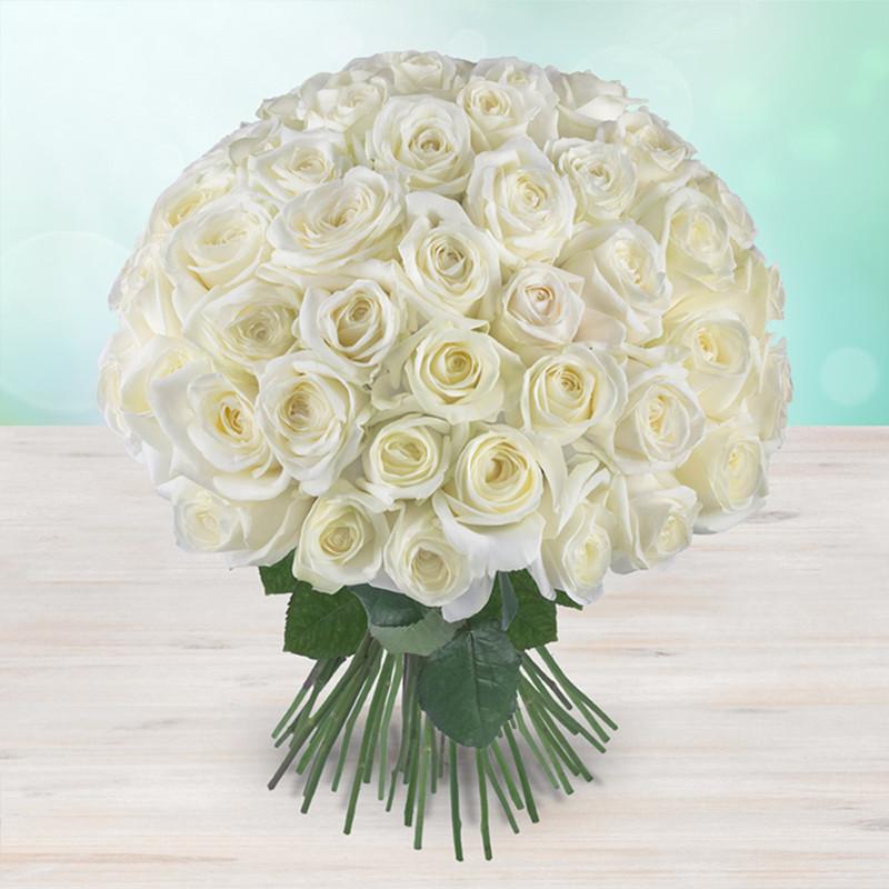 Kytice 300 bílých čerstvých růží
