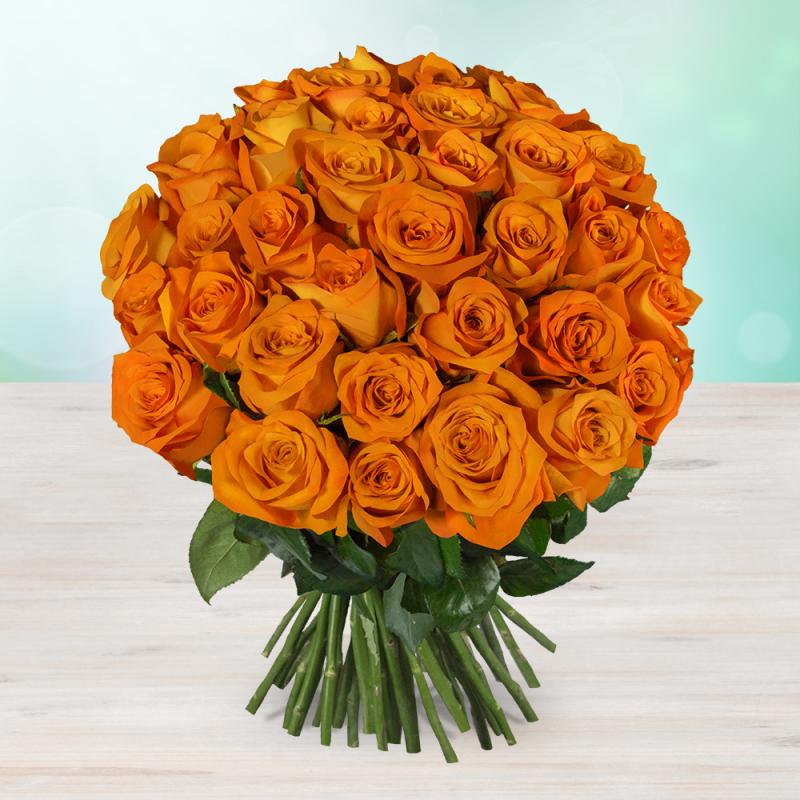 Kytice 160 oranžových čerstvých růží